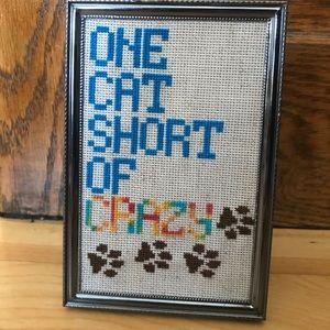 🏠BOGO Hand made cross stitch crazy cat mom decor